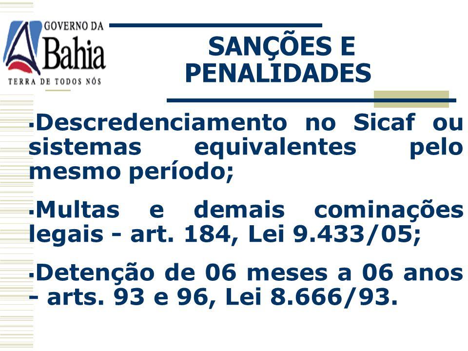 CONSEQUÊNCIAS: Impedimento de licitar e contratar com a Administração pública pelo prazo de até 05 anos; SANÇÕES E PENALIDADES