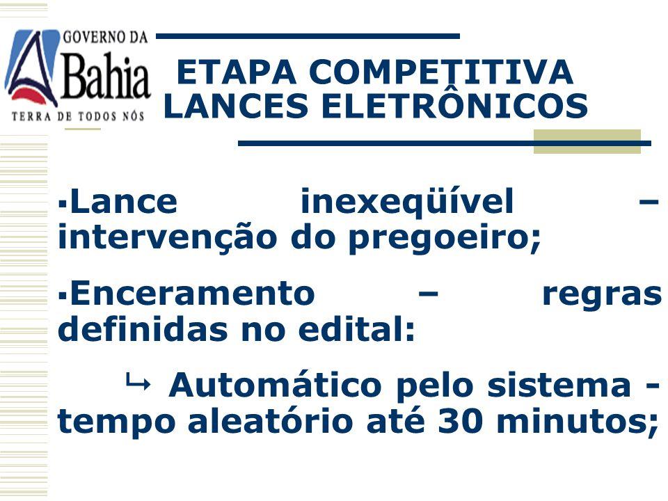 ETAPA COMPETITIVA LANCES ELETRÔNICOS Recebimento; O sistema somente admite lance inferior a menor oferta anterior do próprio proponente - impossibilid
