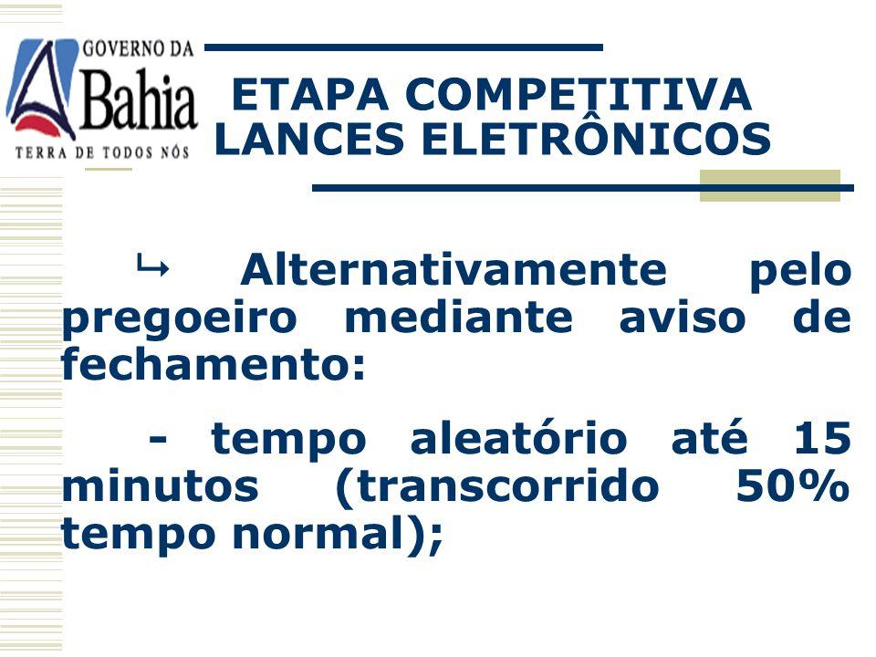Lance inexeqüível – intervenção do pregoeiro; Enceramento – regras definidas no edital: Automático pelo sistema - tempo aleatório até 30 minutos; ETAP