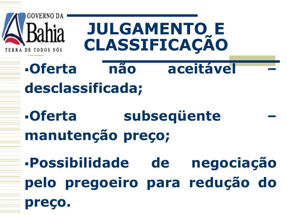 JULGAMENTO E CLASSIFICAÇÃO Definição lance vencedor; Classificação demais lances ofertados; Oferta aceitável - classificada;