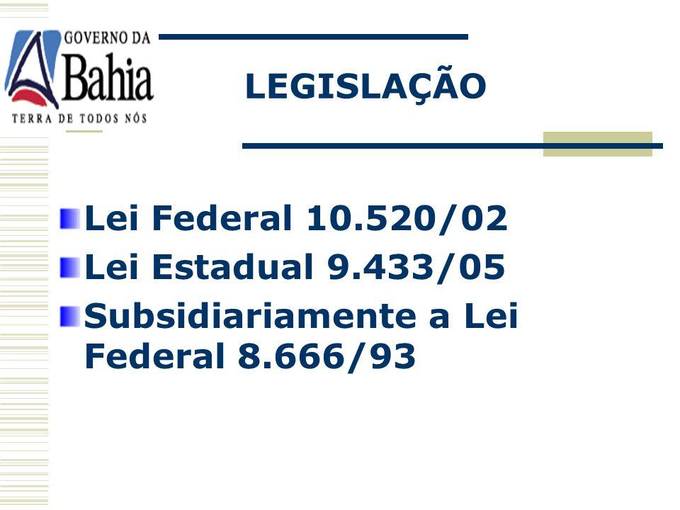 LEGISLAÇÃO Lei Federal 10.520/02 Lei Estadual 9.433/05 Subsidiariamente a Lei Federal 8.666/93