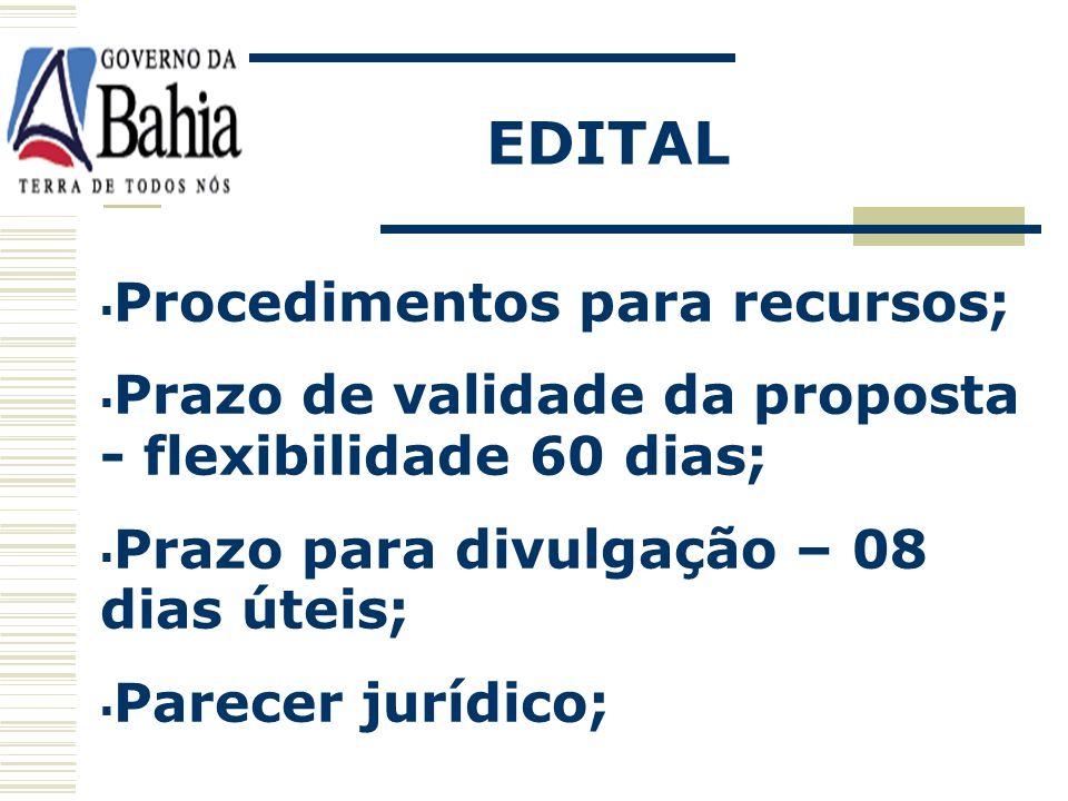 Procedimentos para credenciamento na sessão; Procedimentos e critérios de aceitação de propostas, lance e habilitação; Critério de menor preço para ju