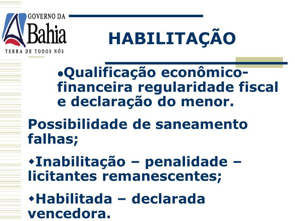 HABILITAÇÃO Análise da Documentação; Participação: Empresas cadastradas: Substituição dos documentos pelo cadastro; Empresas não cadastradas: Apresent