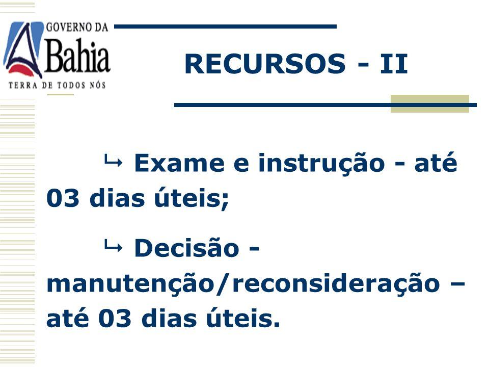 Apresentação das razões – petição – 03 dias úteis; Impugnação demais licitantes – 03 dias úteis a partir do término do prazo do recorrente; RECURSOS -