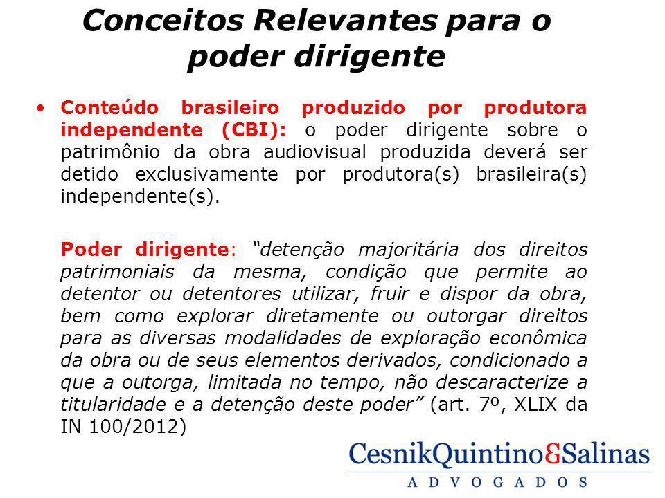 Conceitos Relevantes para o poder dirigente Conteúdo brasileiro produzido por produtora independente (CBI): o poder dirigente sobre o patrimônio da ob