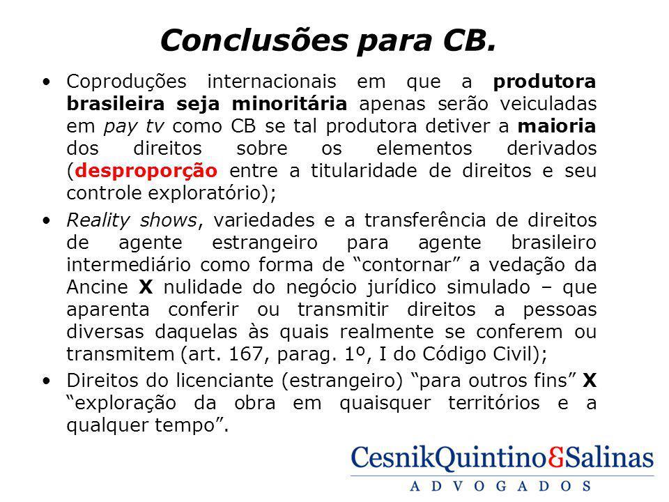 Conclusões para CB. Coproduções internacionais em que a produtora brasileira seja minoritária apenas serão veiculadas em pay tv como CB se tal produto