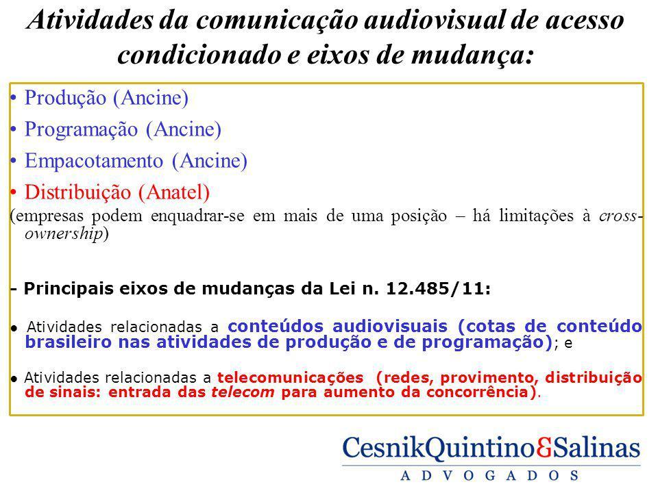 Atividades da comunicação audiovisual de acesso condicionado e eixos de mudança: Produção (Ancine) Programação (Ancine) Empacotamento (Ancine) Distrib