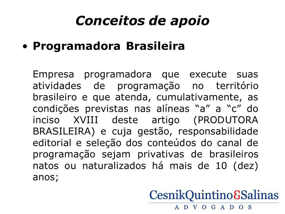 Conceitos de apoio Programadora Brasileira Empresa programadora que execute suas atividades de programação no território brasileiro e que atenda, cumu