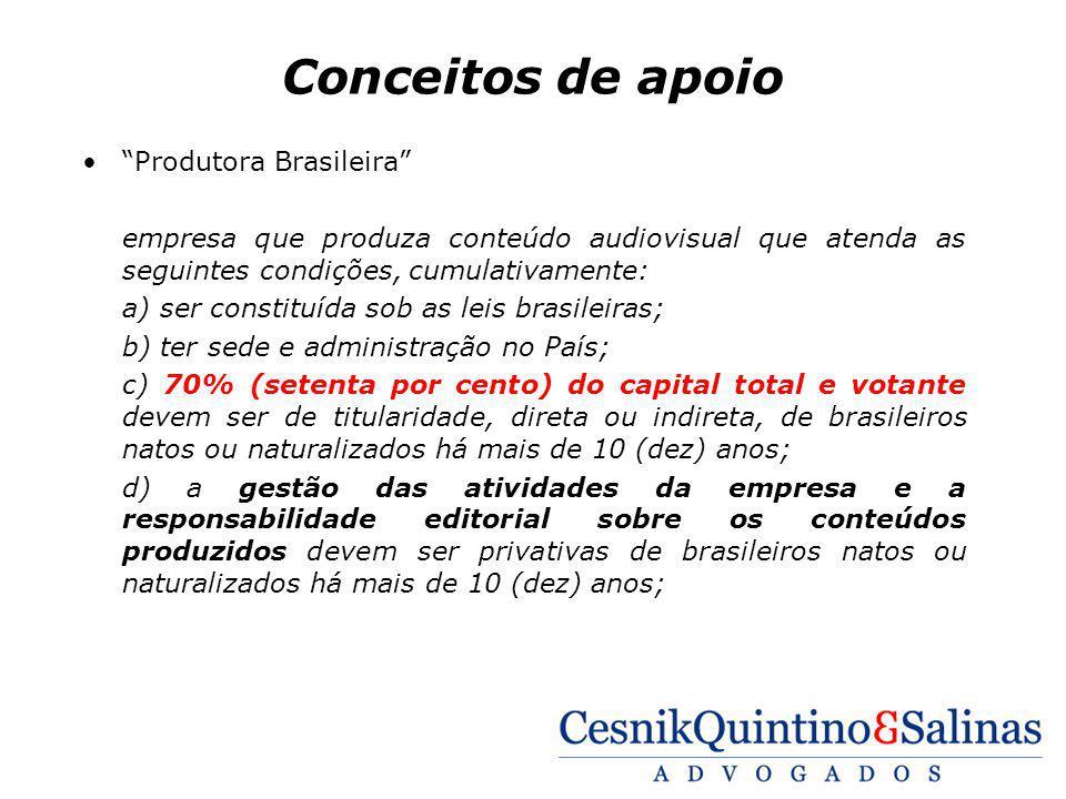 Conceitos de apoio Produtora Brasileira empresa que produza conteúdo audiovisual que atenda as seguintes condições, cumulativamente: a) ser constituíd