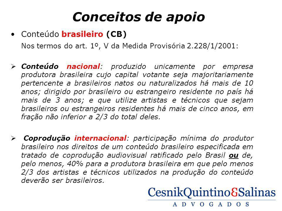 Conceitos de apoio Conteúdo brasileiro (CB) Nos termos do art. 1º, V da Medida Provisória 2.228/1/2001: Conteúdo nacional: produzido unicamente por em