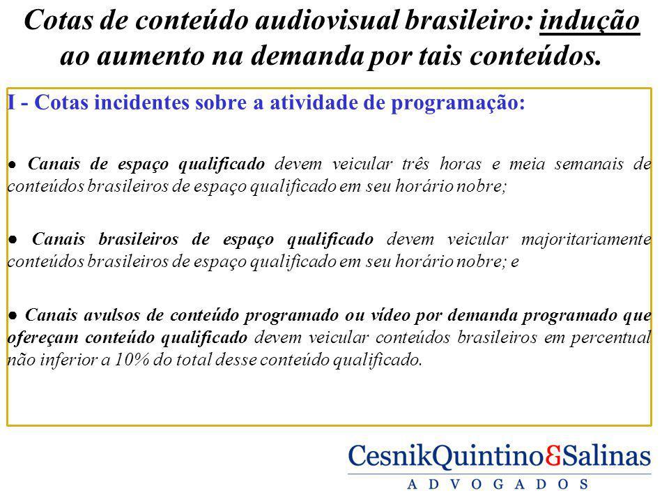 Cotas de conteúdo audiovisual brasileiro: indução ao aumento na demanda por tais conteúdos. I - Cotas incidentes sobre a atividade de programação: Can