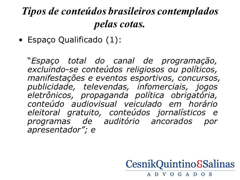 Tipos de conteúdos brasileiros contemplados pelas cotas. Espaço Qualificado (1): Espaço total do canal de programação, excluindo-se conteúdos religios