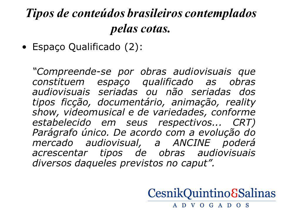 Tipos de conteúdos brasileiros contemplados pelas cotas. Espaço Qualificado (2): Compreende-se por obras audiovisuais que constituem espaço qualificad