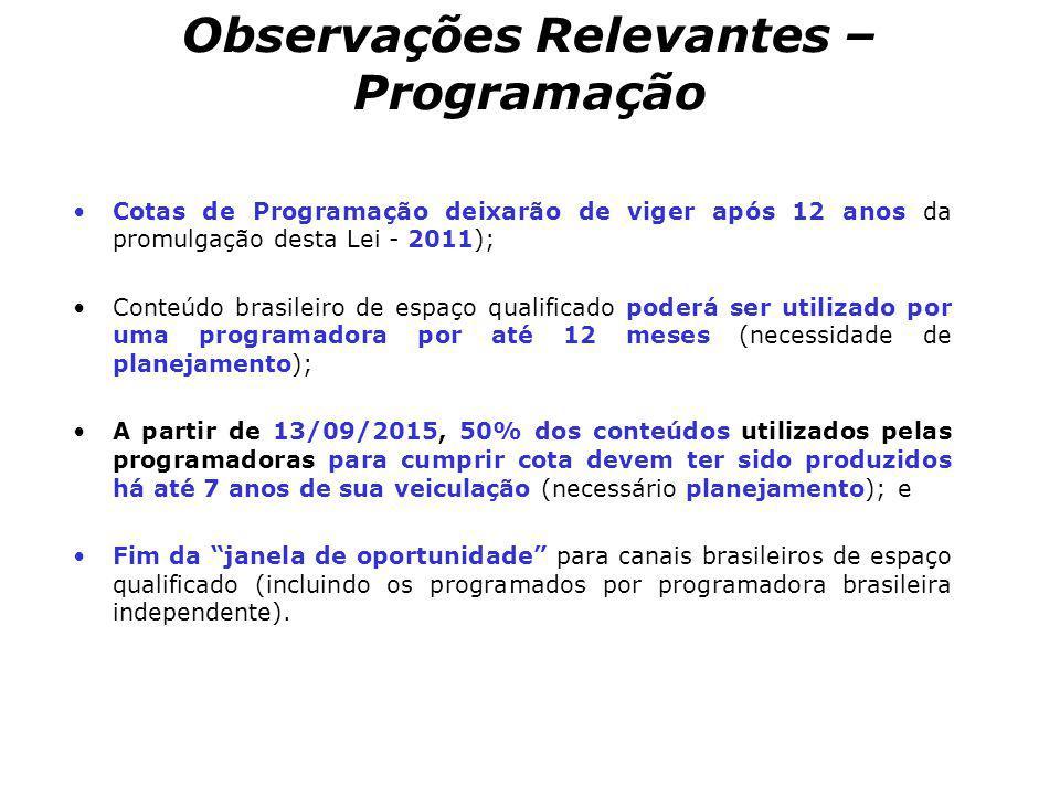 Observações Relevantes – Programação Cotas de Programação deixarão de viger após 12 anos da promulgação desta Lei - 2011); Conteúdo brasileiro de espa