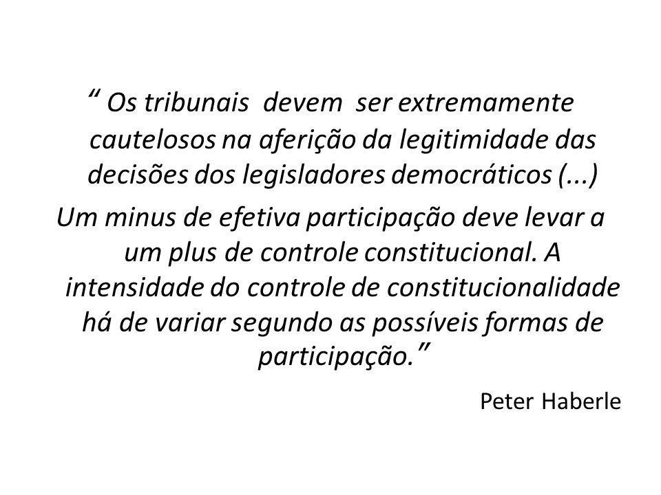 Os tribunais devem ser extremamente cautelosos na aferição da legitimidade das decisões dos legisladores democráticos (...) Um minus de efetiva participação deve levar a um plus de controle constitucional.