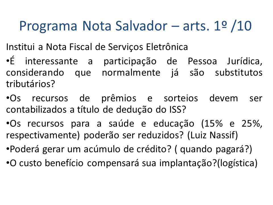 Programa Nota Salvador – arts.
