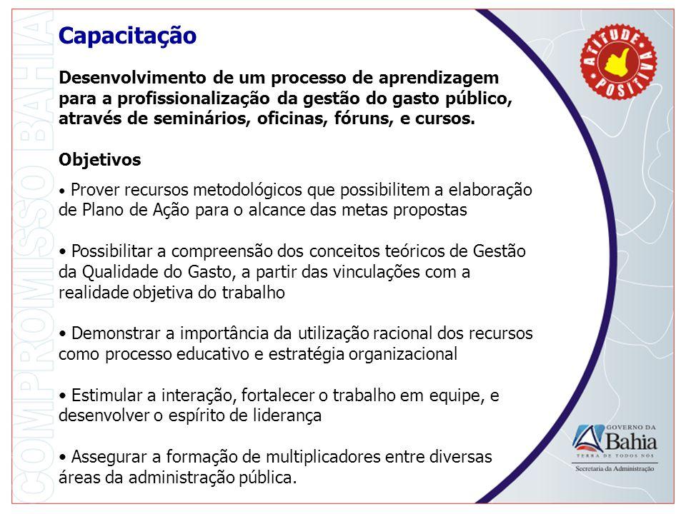 Capacitação Desenvolvimento de um processo de aprendizagem para a profissionalização da gestão do gasto público, através de seminários, oficinas, fóruns, e cursos.