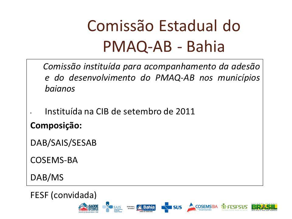 Comissão Estadual do PMAQ-AB - Bahia Comissão instituída para acompanhamento da adesão e do desenvolvimento do PMAQ-AB nos municípios baianos Instituída na CIB de setembro de 2011 Composição: DAB/SAIS/SESAB COSEMS-BA DAB/MS FESF (convidada)