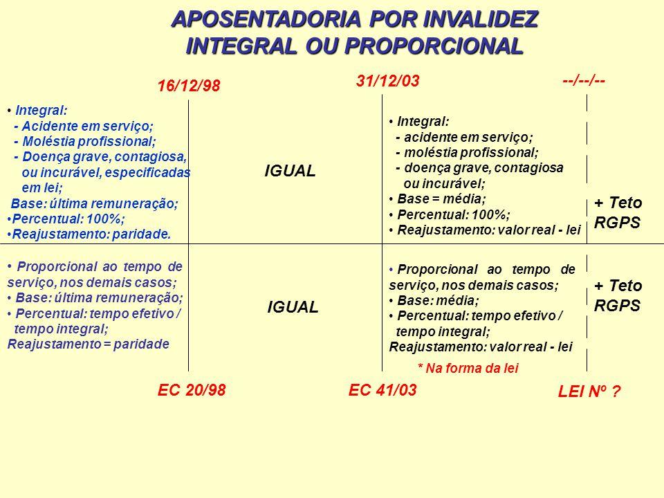 Integral: - Acidente em serviço; - Moléstia profissional; - Doença grave, contagiosa, ou incurável, especificadas em lei; Base: última remuneração; Pe
