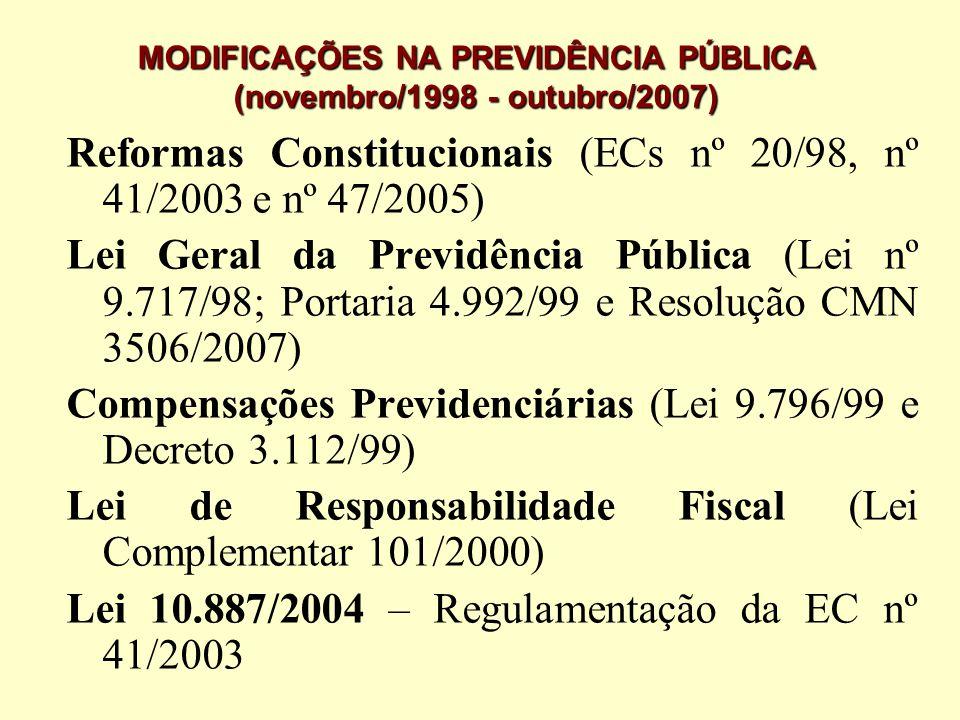 MODIFICAÇÕES NA PREVIDÊNCIA PÚBLICA (novembro/1998 - outubro/2007) Reformas Constitucionais (ECs nº 20/98, nº 41/2003 e nº 47/2005) Lei Geral da Previ