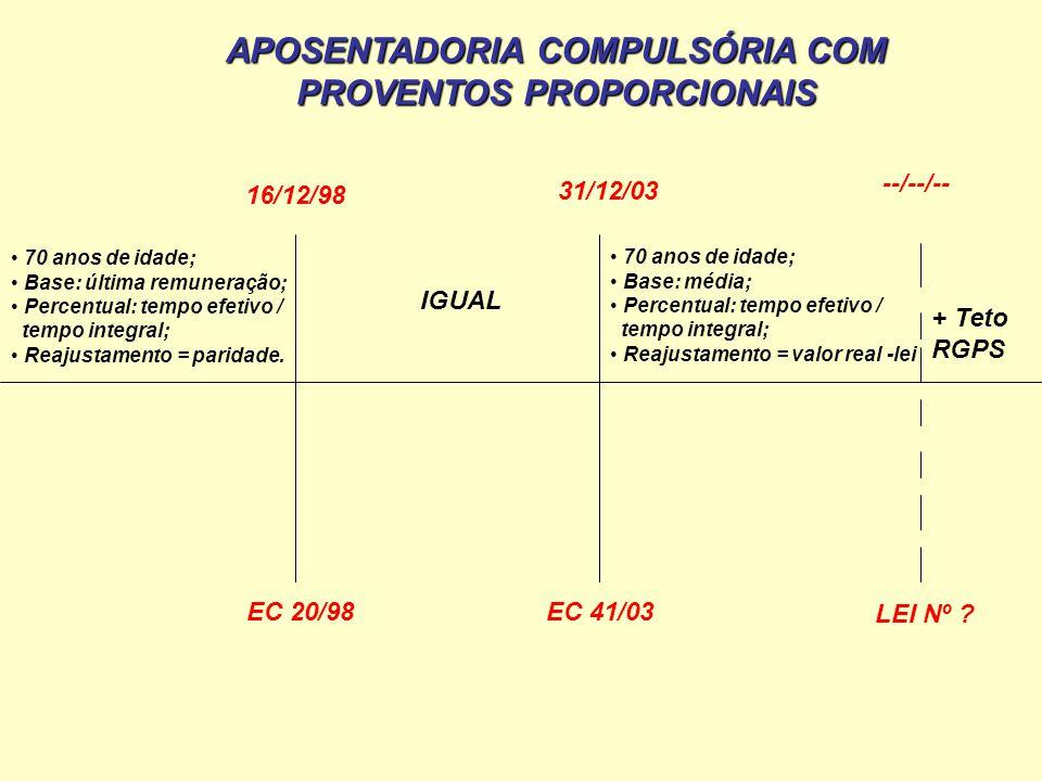 70 anos de idade; Base: última remuneração; Percentual: tempo efetivo / tempo integral; Reajustamento = paridade. 16/12/98 EC 20/98 31/12/03 EC 41/03