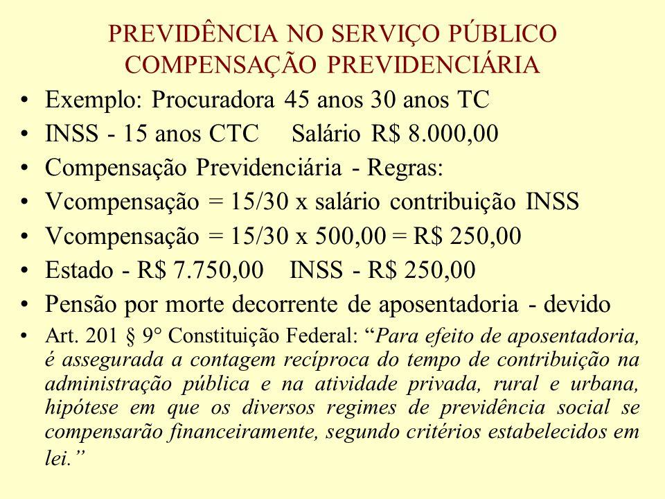 PREVIDÊNCIA NO SERVIÇO PÚBLICO COMPENSAÇÃO PREVIDENCIÁRIA Exemplo: Procuradora 45 anos 30 anos TC INSS - 15 anos CTC Salário R$ 8.000,00 Compensação P