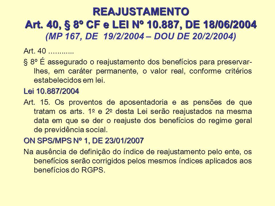 REAJUSTAMENTO Art. 40, § 8º CF e LEI Nº 10.887, DE 18/06/2004 REAJUSTAMENTO Art. 40, § 8º CF e LEI Nº 10.887, DE 18/06/2004 (MP 167, DE 19/2/2004 – DO