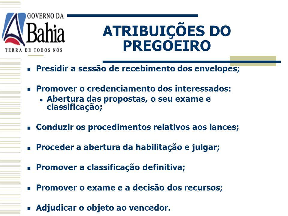 CONDUÇÃO DO PREGÃO REQUISITOS: Servidor do órgão ou entidade promotora da licitação; Capacitação específica para atuar. DESIGNAÇÃO: Designação oficial