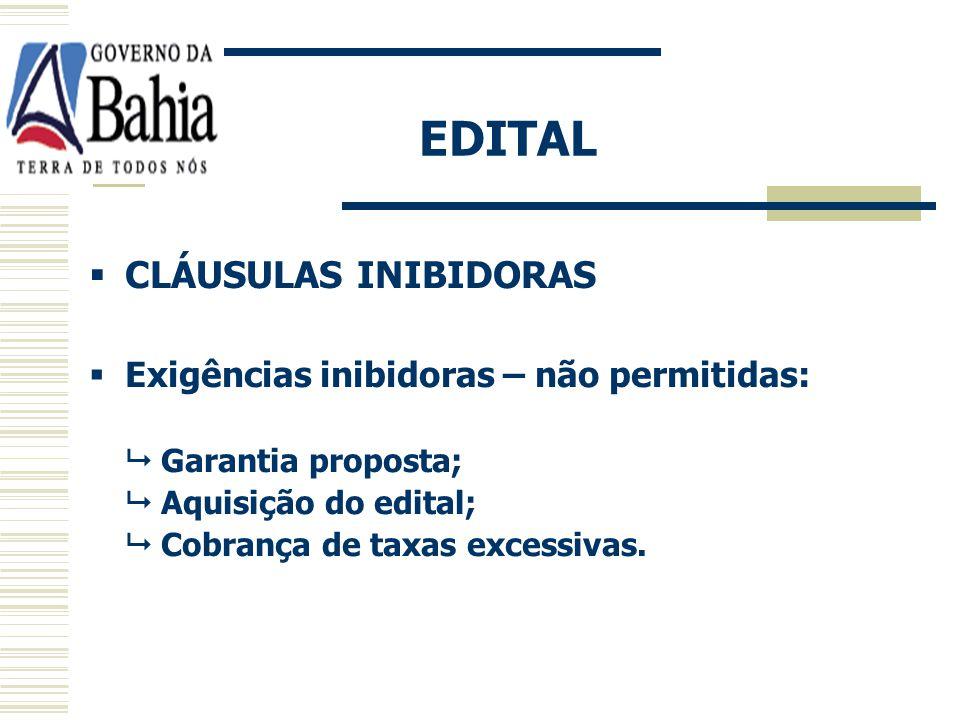 EDITAL Lei 9.433/05, art 79 CONTEÚDO: Objeto definido de forma precisa e clara; Indicação do local, dia e hora para obtenção e quando será realizada a