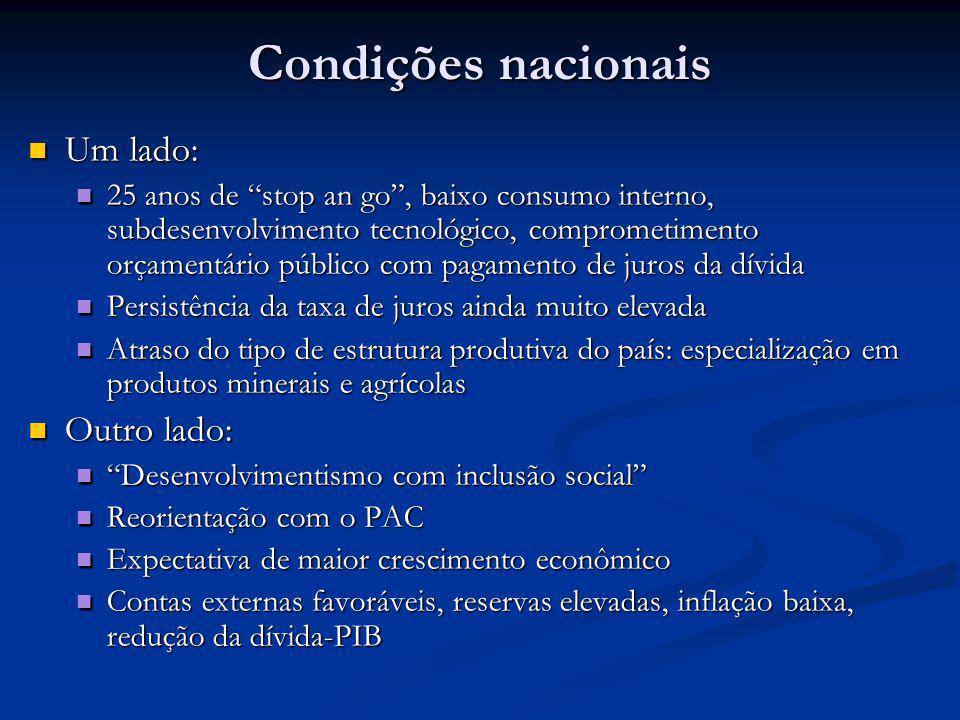 Condições nacionais Um lado: Um lado: 25 anos de stop an go, baixo consumo interno, subdesenvolvimento tecnológico, comprometimento orçamentário públi