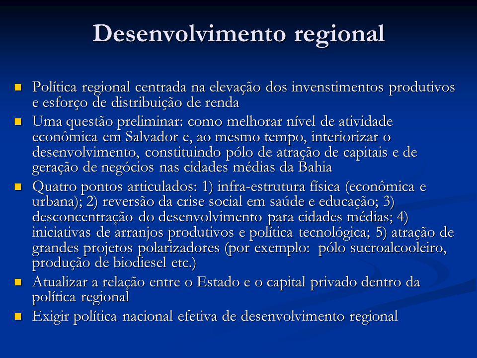 Desenvolvimento regional Política regional centrada na elevação dos invenstimentos produtivos e esforço de distribuição de renda Política regional cen