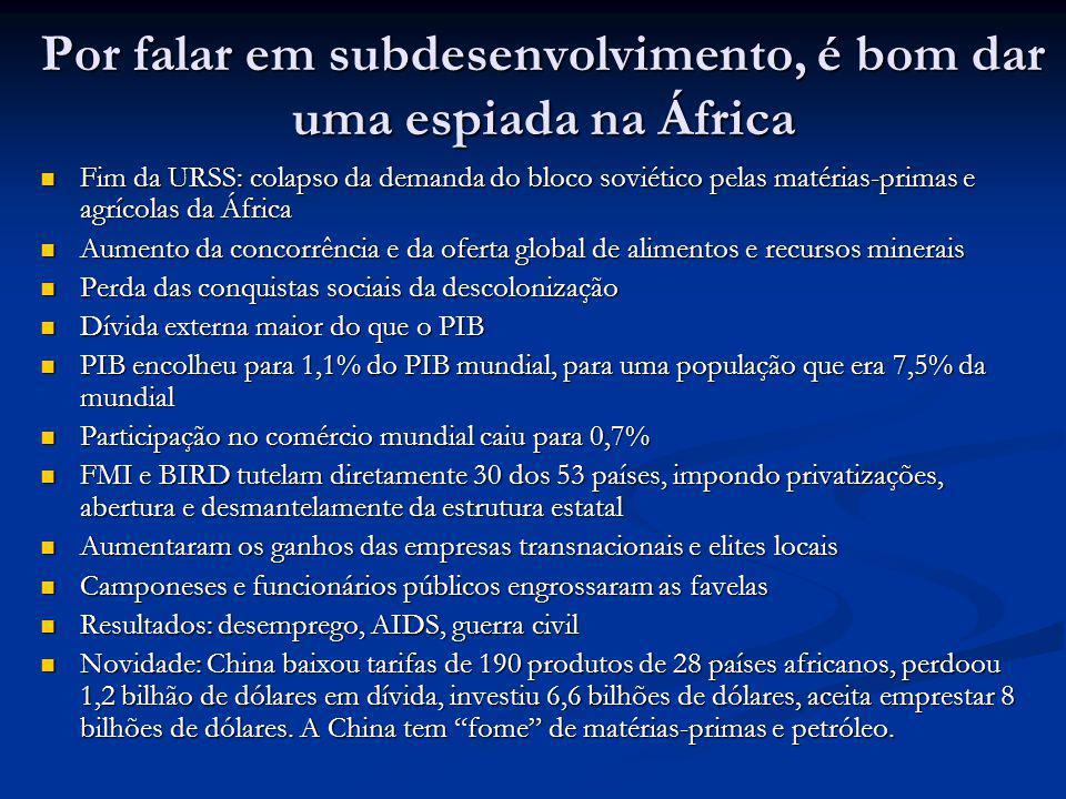 Por falar em subdesenvolvimento, é bom dar uma espiada na África Fim da URSS: colapso da demanda do bloco soviético pelas matérias-primas e agrícolas