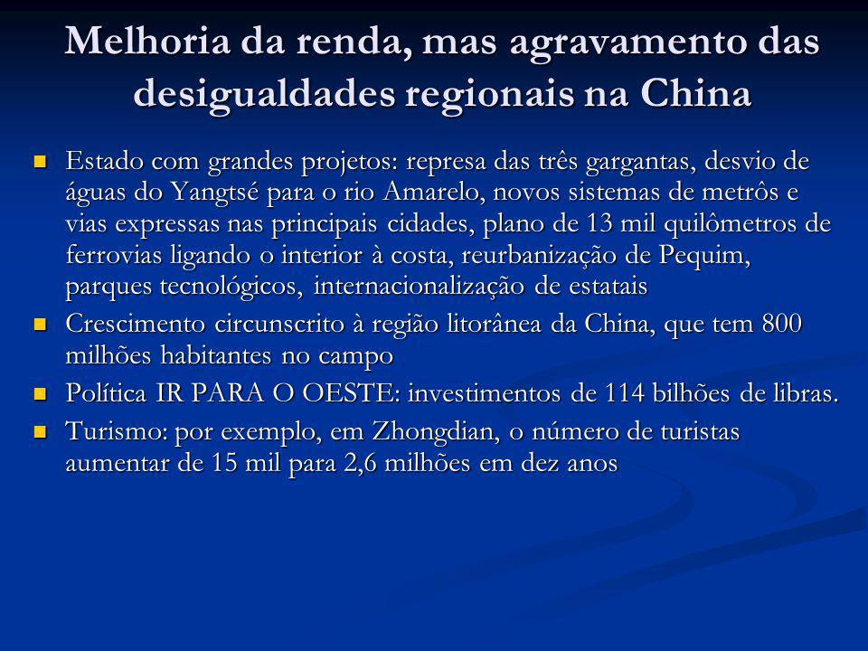 Melhoria da renda, mas agravamento das desigualdades regionais na China Estado com grandes projetos: represa das três gargantas, desvio de águas do Ya