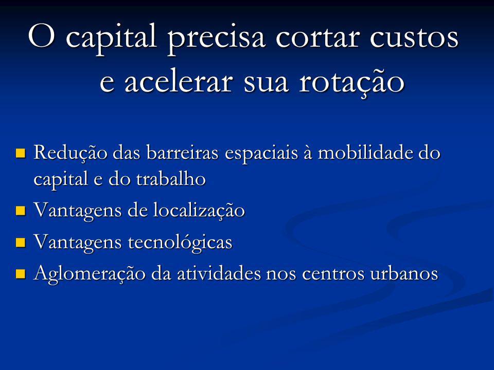 O capital precisa cortar custos e acelerar sua rotação Redução das barreiras espaciais à mobilidade do capital e do trabalho Redução das barreiras esp