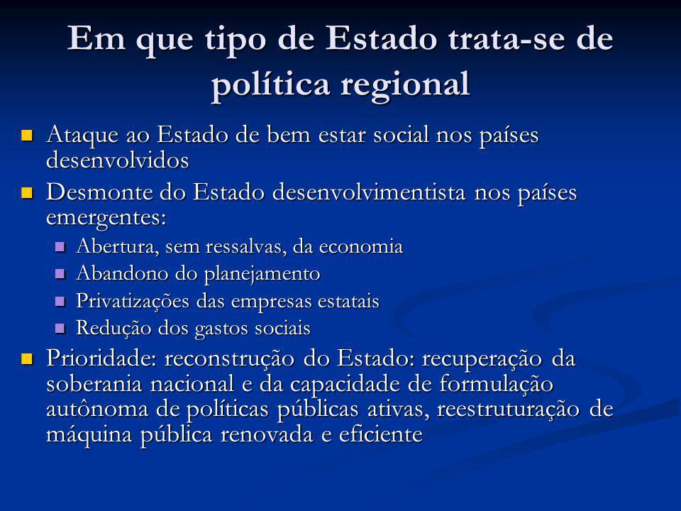 Em que tipo de Estado trata-se de política regional Ataque ao Estado de bem estar social nos países desenvolvidos Ataque ao Estado de bem estar social