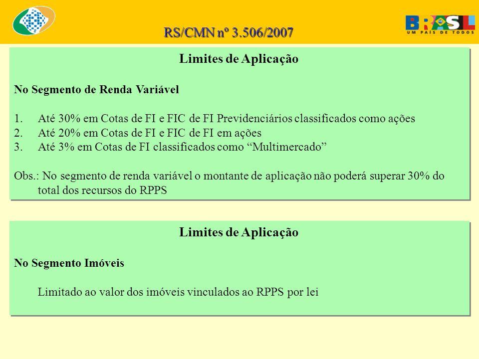 RS/CMN nº 3.506/2007 Limites de Aplicação No Segmento de Renda Variável 1.Até 30% em Cotas de FI e FIC de FI Previdenciários classificados como ações 2.Até 20% em Cotas de FI e FIC de FI em ações 3.Até 3% em Cotas de FI classificados como Multimercado Obs.: No segmento de renda variável o montante de aplicação não poderá superar 30% do total dos recursos do RPPS Limites de Aplicação No Segmento de Renda Variável 1.Até 30% em Cotas de FI e FIC de FI Previdenciários classificados como ações 2.Até 20% em Cotas de FI e FIC de FI em ações 3.Até 3% em Cotas de FI classificados como Multimercado Obs.: No segmento de renda variável o montante de aplicação não poderá superar 30% do total dos recursos do RPPS Limites de Aplicação No Segmento Imóveis Limitado ao valor dos imóveis vinculados ao RPPS por lei Limites de Aplicação No Segmento Imóveis Limitado ao valor dos imóveis vinculados ao RPPS por lei