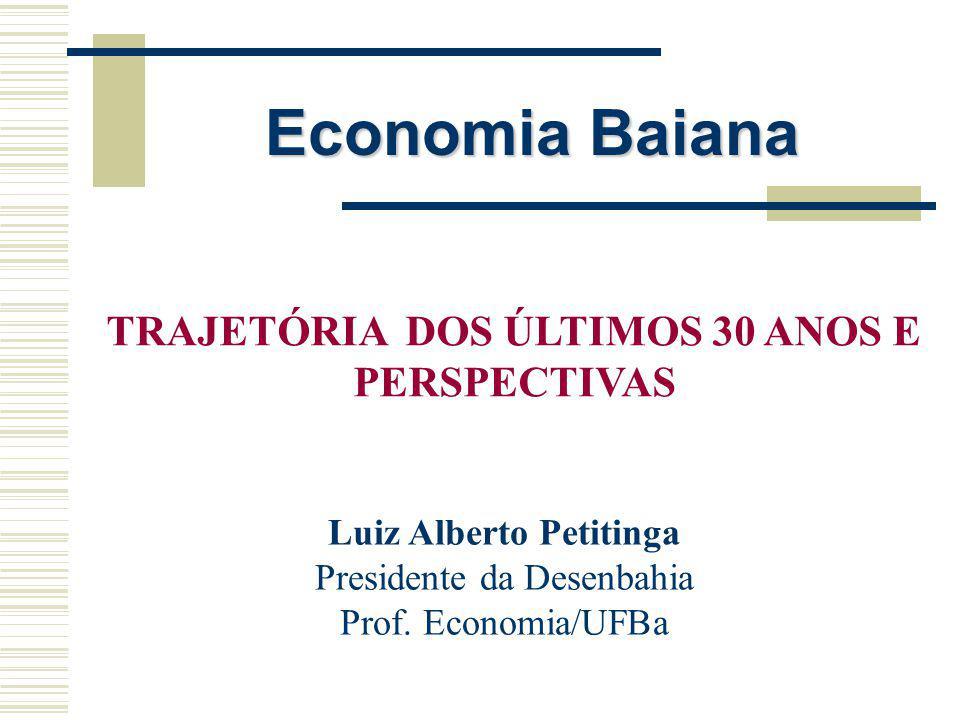 Economia Baiana: Desempenho recente e perspectivas Perspectivas -O nível de atividade deve entrar numa trajetória de crescimento associado ao desempenho brasileiro -Expansão do agronegócio (soja, frutas, etc.) -Expansão da atividade comercial (novos shopping centers)