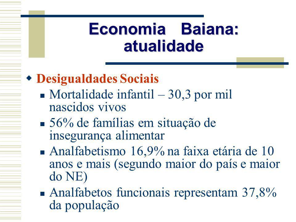 Economia Baiana: atualidade Desigualdades Sociais Mortalidade infantil – 30,3 por mil nascidos vivos 56% de famílias em situação de insegurança alimen