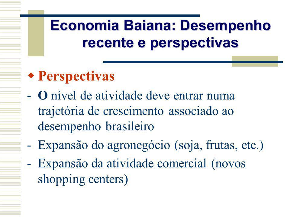 Economia Baiana: Desempenho recente e perspectivas Perspectivas -O nível de atividade deve entrar numa trajetória de crescimento associado ao desempen