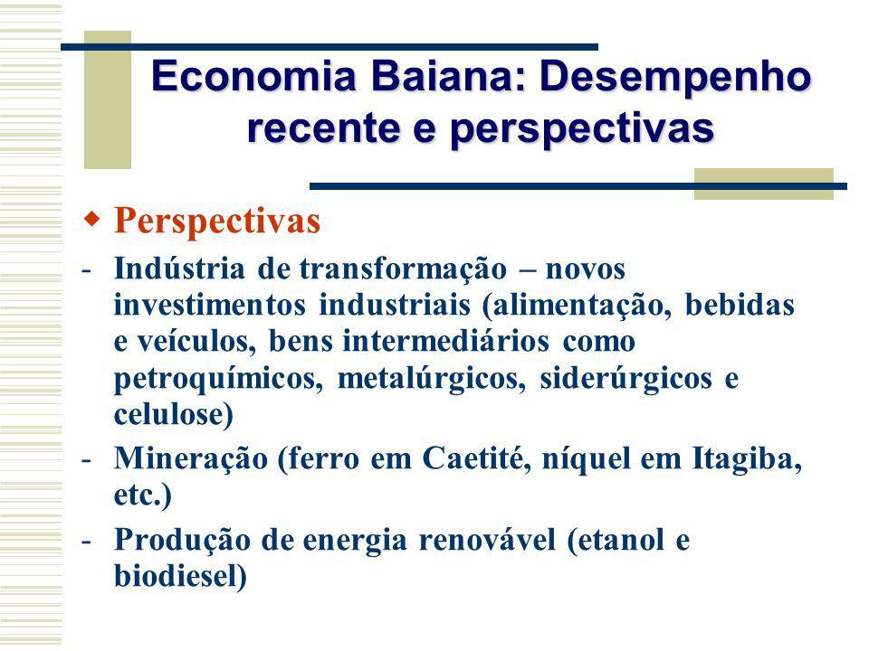 Economia Baiana: Desempenho recente e perspectivas Perspectivas -Indústria de transformação – novos investimentos industriais (alimentação, bebidas e