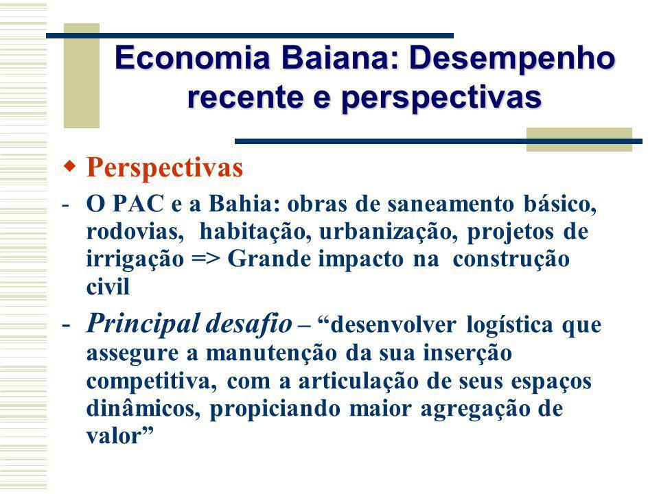 Economia Baiana: Desempenho recente e perspectivas Perspectivas -O PAC e a Bahia: obras de saneamento básico, rodovias, habitação, urbanização, projet
