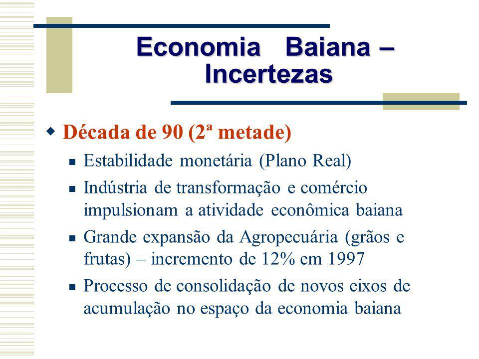 Economia Baiana – Incertezas Década de 90 (2ª metade) Estabilidade monetária (Plano Real) Indústria de transformação e comércio impulsionam a atividad