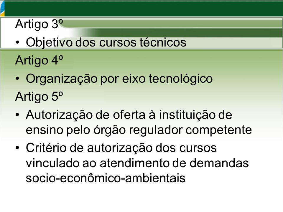 Artigo 3º Objetivo dos cursos técnicos Artigo 4º Organização por eixo tecnológico Artigo 5º Autorização de oferta à instituição de ensino pelo órgão regulador competente Critério de autorização dos cursos vinculado ao atendimento de demandas socio-econômico-ambientais