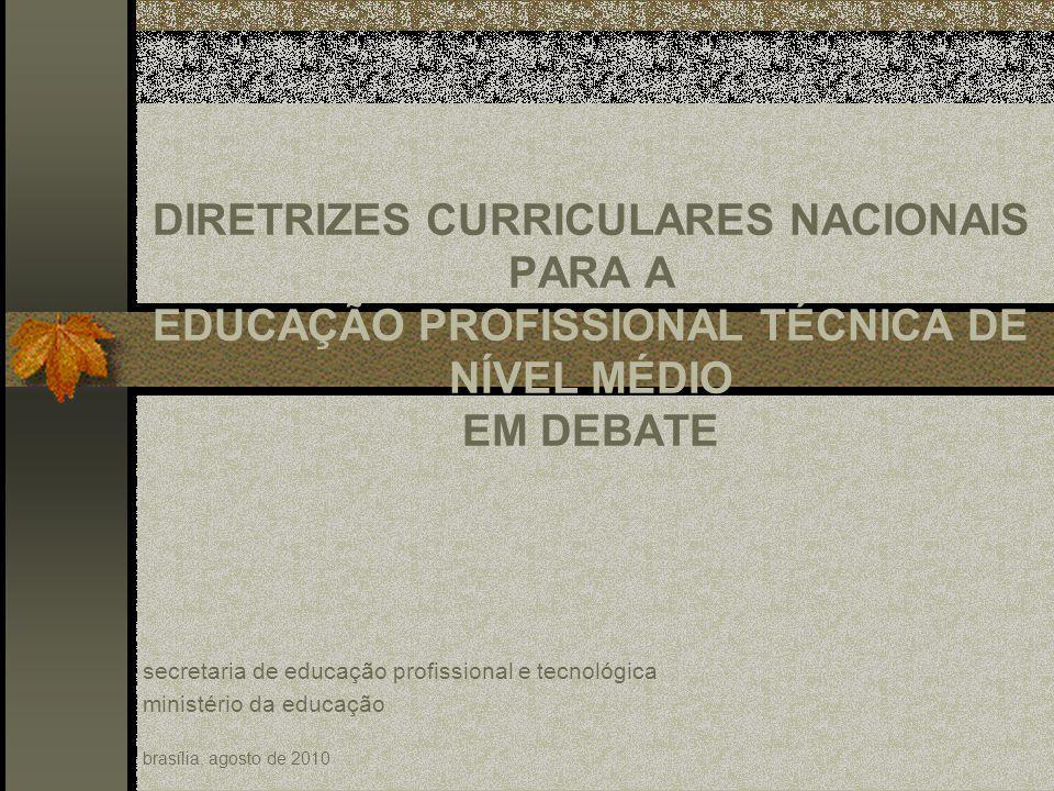 DIRETRIZES CURRICULARES NACIONAIS PARA A EDUCAÇÃO PROFISSIONAL TÉCNICA DE NÍVEL MÉDIO EM DEBATE secretaria de educação profissional e tecnológica ministério da educação brasília, agosto de 2010