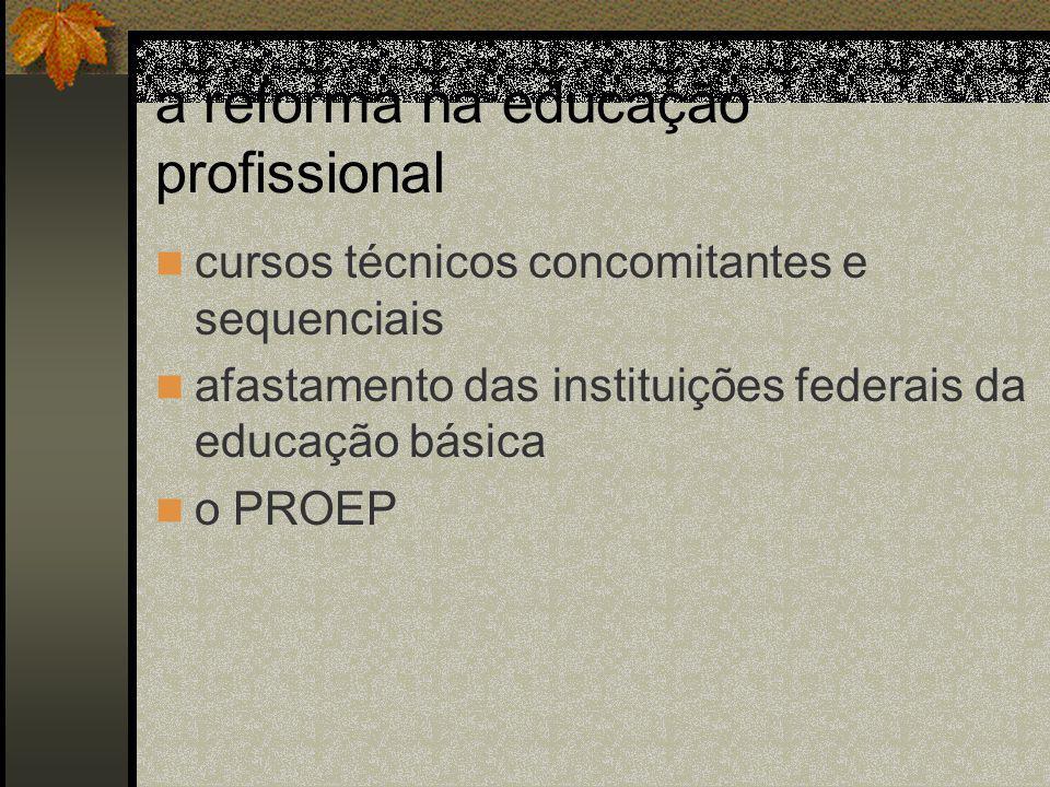 a reforma na educação profissional cursos técnicos concomitantes e sequenciais afastamento das instituições federais da educação básica o PROEP