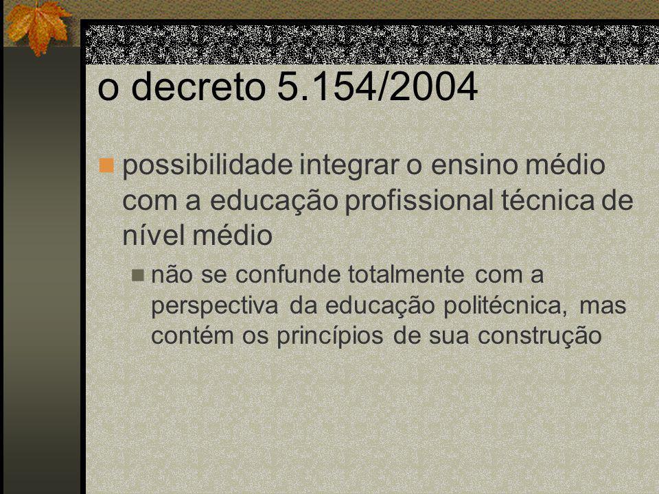 o decreto 5.154/2004 possibilidade integrar o ensino médio com a educação profissional técnica de nível médio não se confunde totalmente com a perspectiva da educação politécnica, mas contém os princípios de sua construção