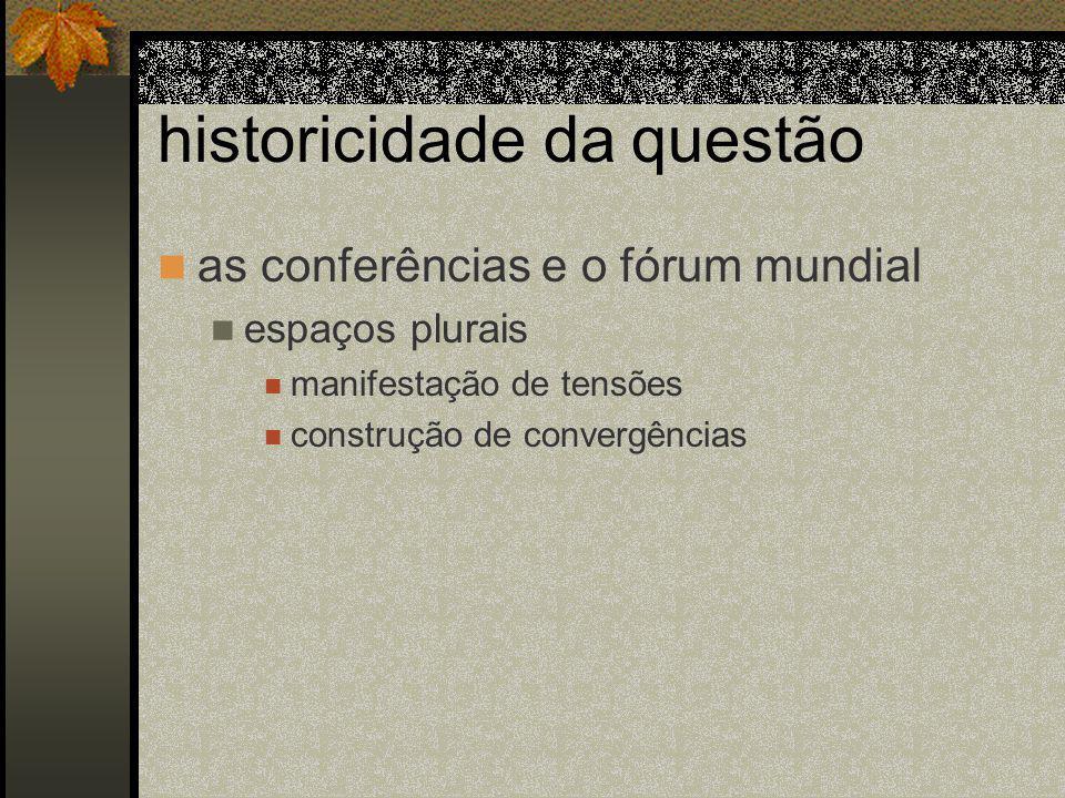 historicidade da questão as conferências e o fórum mundial espaços plurais manifestação de tensões construção de convergências