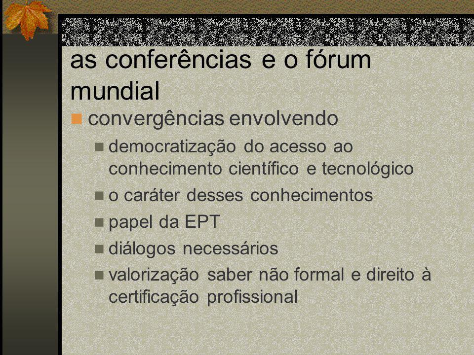 as conferências e o fórum mundial convergências envolvendo democratização do acesso ao conhecimento científico e tecnológico o caráter desses conhecimentos papel da EPT diálogos necessários valorização saber não formal e direito à certificação profissional