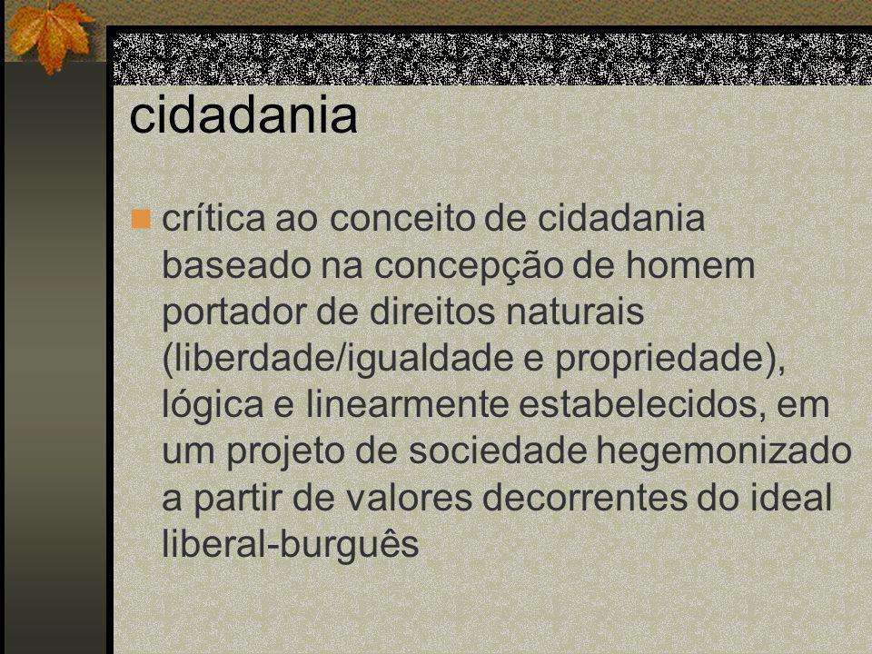 cidadania crítica ao conceito de cidadania baseado na concepção de homem portador de direitos naturais (liberdade/igualdade e propriedade), lógica e linearmente estabelecidos, em um projeto de sociedade hegemonizado a partir de valores decorrentes do ideal liberal-burguês