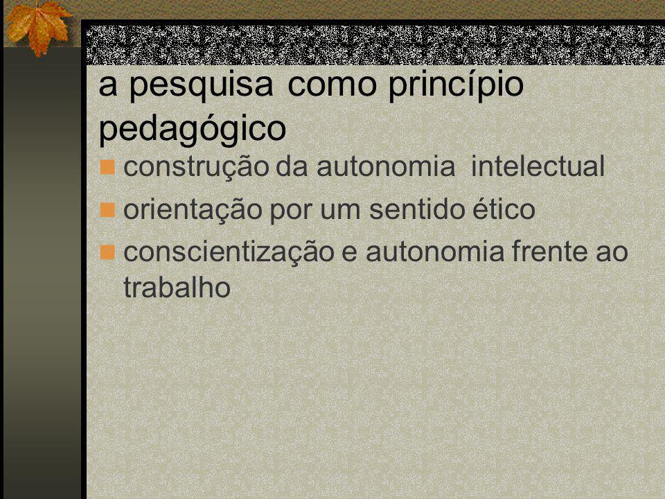 a pesquisa como princípio pedagógico construção da autonomia intelectual orientação por um sentido ético conscientização e autonomia frente ao trabalho